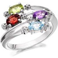 My Diamonds Silver Blue Topaz, Amethyst, Garnet, Peridot And Diamond Ring - D9053-R