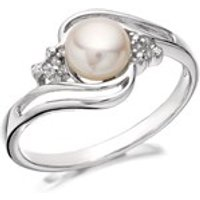 My Diamonds Silver Freshwater Pearl And Diamond Crossover Ring - D9054-O