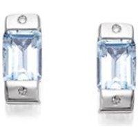 My Diamonds Silver Blue Topaz And Diamond Earrings - D9092