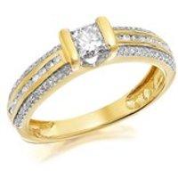 9ct Gold Princess Cut Diamond Ring - 1/2ct - D9165-J