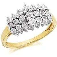 9ct Gold Diamond Three Row Band Ring - 10pts - D9211-R