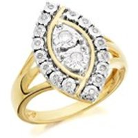 9ct Gold Marquise Diamond Cluster Ring - 15pts - D9212-L