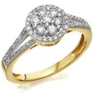 9ct Gold Diamond Split Band Halo Cluster Ring - 1/2ct - D9241-Q