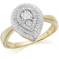 9ct Gold Diamond Pear Cluster Ring - 19pts - D9258-M