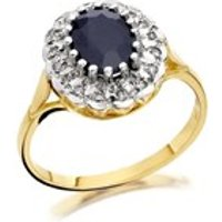 9ct Gold Sapphire And Diamond Cluster Ring - 8pts - D9276-K