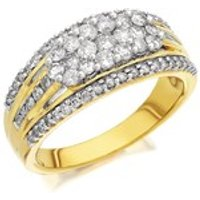 9ct Gold 1 Carat Diamond Triple Band Cluster Ring - D9313-R