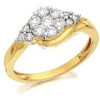 9ct Gold Diamond Crossover Cluster Ring - 1/2ct - D9317-P