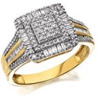 9ct Gold Diamond Cushion Cluster Ring - 1/2ct - D9320-M