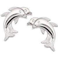 Silver Two Dolphin Stud Earrings - 14mm - F0216