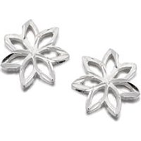 Silver Flower Earrings - 8mm - F0267