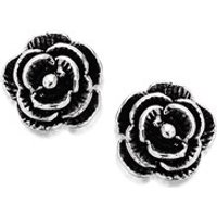 Silver Rose Earrings - 6mm - F0276