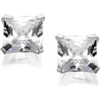 Silver Square Cubic Zirconia Stud Earrings - 5mm - F0308