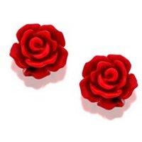 Silver Red Rose Earrings - 10mm - F0396