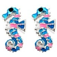 Silver Pink And Blue Seahorse Earrings - 10mm - F0409