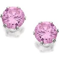 Silver Pink Cubic Zirconia Earrings - 4mm - F0422