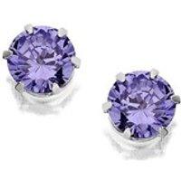 Silver Blue Cubic Zirconia Earrings - 5mm - F0427