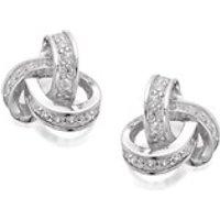 Silver Cubic Zirconia Knot Stud Earrings - 10mm - F0463