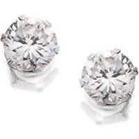 Silver Round Cubic Zirconia Earrings - 4mm - F0484