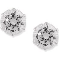 Silver Round Cubic Zirconia Earrings - 6mm - F0491