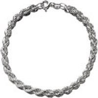 Silver 4mm Wide Twisted Rope Bracelet - 7.25in - F1745