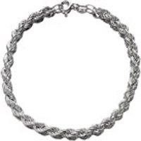 Silver 4mm Wide Twisted Rope Bracelet - 7.25in - F1745