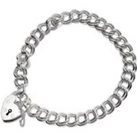 Silver Double Curb Charm Bracelet With Heart Padlock - 7in - F1808