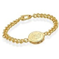 Gold Plated St. Christopher SOS Talisman Bracelet - F2401