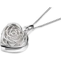 Silver Flower Lattice Locket And Chain - F4342