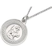 Silver St. Christopher And Chain - 17mm - F4535