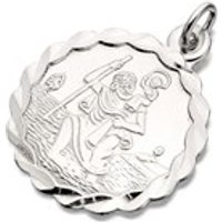 Silver Scalloped Edge Round St. Christopher Medallion - 18mm - F4721