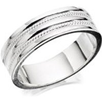Silver Rope Band Ring - 7mm - F4827-T