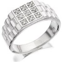 Silver Cubic Zirconia Signet Ring - F5103-X