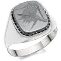 Silver Haematite Intaglio Signet Ring - F5123-R