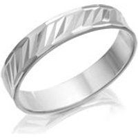 Silver Diamond Cut Band Ring - 4mm - F5426-J