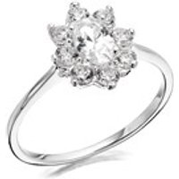 Silver Cubic Zirconia Cluster Ring - F5970-O