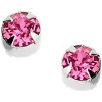 Silver Pink Crystal Andralok Earrings - 3mm - F9913