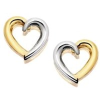 9ct Gold Two Colour Open Heart Stud Earrings - 8mm - G0143
