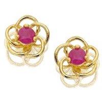 9ct Gold Ruby Flower Earrings - 5mm - G0208