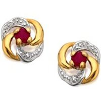 9ct Gold Two Colour Ruby Swirl Stud Earrings - 10mm - G0323