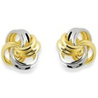 9ct Gold Two Colour Knot Stud Earrings - 6mm - G0413