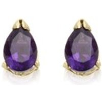 9ct Gold Amethyst Teardrop Stud Earrings - 7mm - G0416