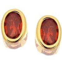 9ct Gold Garnet Earrings - 6mm - G0451