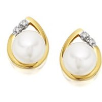 9ct Gold Freshwater Pearl And Diamond Earrings - 9mm - G0615