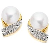 9ct Gold Two Colour Diamond And Freshwater Pearl Earrings - 10mm - G0620