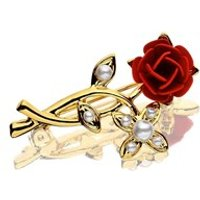 Gold Plated Red Rose And Simulated Pearl Brooch - J5417