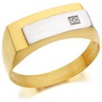 9ct Gold Two Colour Diamond Set Signet Ring - R4038-Z