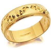 9ct Gold Diamond Cut Stars Garland Wedding Ring - 5mm - R4357-L