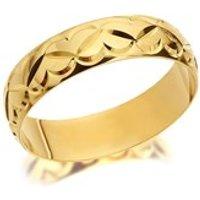 9ct Gold Diamond Cut Heart Wedding Ring - 5mm - R4394-R