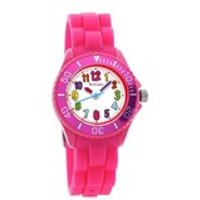 tikkers tk0011 coloured hours pink silicon strap watch  w0152