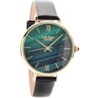 lola rose lr2016 malachite green leather strap watch  w0319